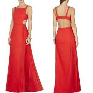 BCBGMaxAzria Brielle Cut Out Pleated Red Gown